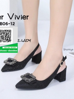 รองเท้าส้นตันรัดส้นสีดำ หัวแหลม Style Roger Vivier (สีดำ )