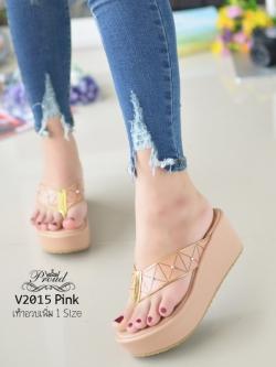 รองเท้าแตะทรงคีบสีชมพู เปิดส้น ISSEY MIYAKE BAO BAO (สีชมพู )