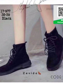 รองเท้าบูทสีดำ ankle boot สไตล์ Dr.Martin (สีดำ )