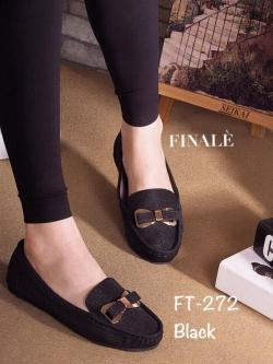 รองเท้าคัทชูส้นเตี้ย แต่งอะไหล้โบว์ สวยหวาน (สีดำ )