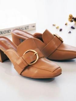 รองเท้าส้นตันสีน้ำตาล ทรงหน้าเรียว style แบรนด์ Gucci (สีน้ำตาล )