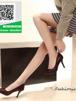 รองเท้าคัชชูส้นสูงสีแดง ทรง casual ดีไซน์หรูหรา (สีแดง )