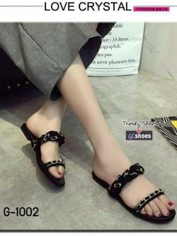 รองเท้าแตะผู้หญิงสีดำ เปิดส้น สายคาดแบบโซ่ (สีดำ )