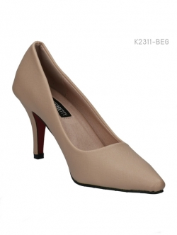 รองเท้าคัทชูส้นสูง กนังลาย ทรงสุภาพ (สีเบจ )