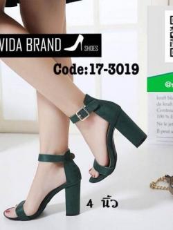 รองเท้าส้นตันรัดข้อสีเขียว งานนำเข้า สไตล์เกาหลี (สีเขียว )