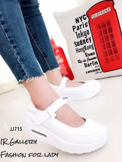 รองเท้าผ้าใบพื้นสุขภาพ แบบสวม สายรัดข้อเท้าเมจิกเทป มีAirMax (สีขาว )