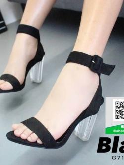 รองเท้าส้นตันรัดข้อสีดำ ส้นแก้ว (สีดำ )
