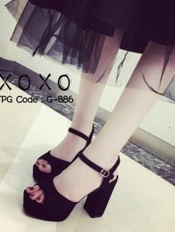 รองเท้าส้นตันรัดส้นสีดำ ผ้าสักหราด แมทส์กับชุดได้ง่าย (สีดำ )