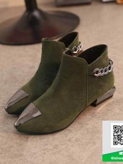 รองเท้าบู๊ทหุ้มข้อสีเขียว หัวแหลม Style Korea (สีเขียว )