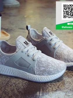 รองเท้าผ้าใบเสริมส้นสีเทา ทรงSport (สีเทา )