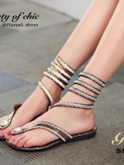 รองเท้าแตะพันข้อสีเงิน ลายงูประดับเพชร สไตล์ gladiater (ทอง )