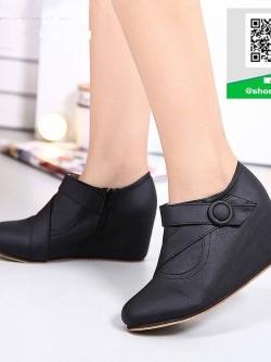 รองเท้าบูทสั้นสีดำ กันหนาว สไตล์เกาหลี (สีดำ )