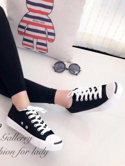 รองเท้าผ้าใบ แบบผูกเชือก สไตล์Jack-purcell (สีดำ )