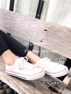 รองเท้าผ้าใบแฟชั่นสีขาวแถบแดง ผ้าแคนวาส รุ่นคลาสสิค (สีขาวแถบแดง )