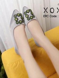 รองเท้าคัทชู ส้นเตี้ย หัวแหลม สไตล์เกาหลี (สีเทา )