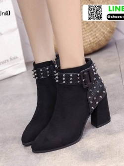รองเท้าบุทส้นเหลี่ยมหุ้มข้อ ST620-BLK [สีดำ]