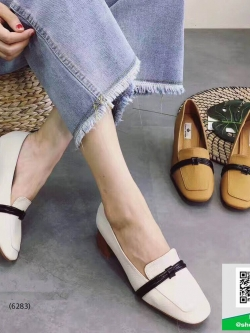 รองเท้าคัทชูส้นตันสีครีม หนังนิ่ม ทรงสวย (สีครีม )