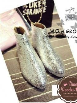 รองเท้าบูทกลิสเตอร์สไตล์แบรนด์ MIU MIU (สีเงิน)