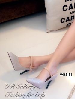 รองเท้าคัทชูส้นสูงแบบรัดข้อ หนังวิ้งๆ (สีทอง )