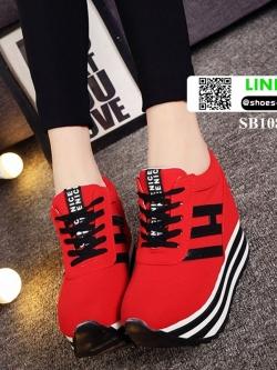 รองเท้าผ้าใบเสริมส้นสไตล์เกาหลี IH SB1084-RED [สีแดง]