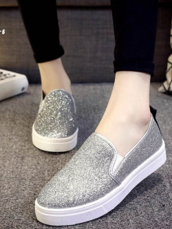 รองเท้าลำลอง รุ่นยอดนิยม วัสดุผ้ายืด-silver A-6 [สีเงิน]
