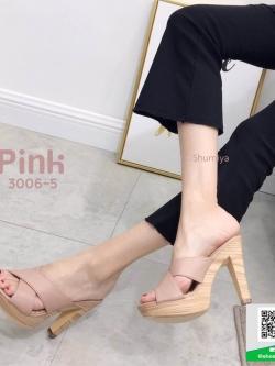 รองเท้าส้นสูงเปิดส้นสีชมพู แบบสวม สายคาดไขว้ (สีชมพู )