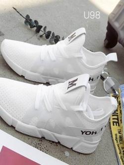 รองเท้าผ้าใบแฟชั่นสีขาว ผ้าตาข่าย ดีไซน์สวย (สีขาว )