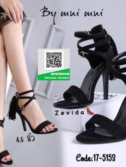 รองเท้าส้นเข็มรัดข้อสีดำ หน้าสวม ซิปหลัง (สีดำ )
