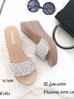 รองเท้าเตารีด แบบสวมหน้าวิ้ง 15-7699-เงิน [สีเงิน]