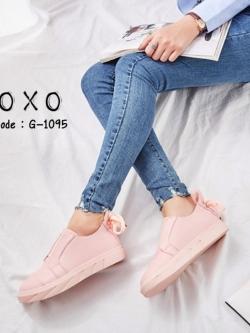 รองเท้าผ้าใบแฟชั่นสีชมพู หนังนุ่ม ด้านบนเป็นยางยืด (สีชมพู )