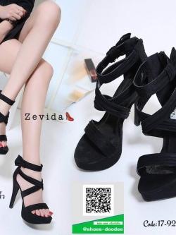 รองเท้าส้นเข็มรัดข้อสีดำ สไตล์เกาหลี งานผ้า (สีดำ )