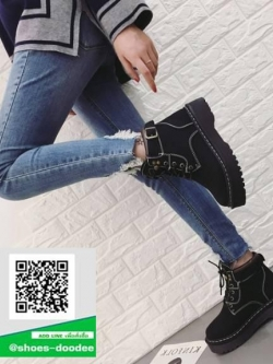 รองเท้าบูทหุ้มข้อสีชมพู สไตล์เกาหลี (สีชมพู )