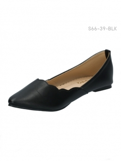 รองเท้าคัทชูส้นแบน แต่งขอบหยัก (สีดำ )