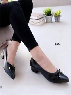 รองเท้าคัทชู หัวมน แนวหวาน (สีดำ )
