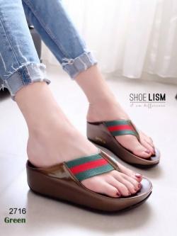 รองเท้าแตะเพื่อสุขภาพสีเขียว แบบคีบ สไตล์ฟิทฟลอบ (สีเขียว )