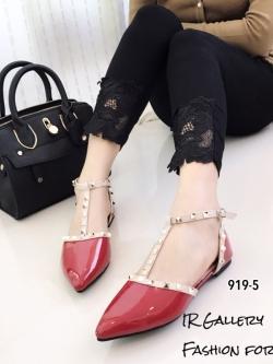 รองเท้าส้นแบนหัวแหลมรัดส้นสีแดง สายคาด T-Strap Style Valentino (สีแดง )