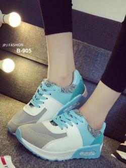 รองเท้าผ้าใบเสริมส้น ทรีโทน (สีฟ้า )