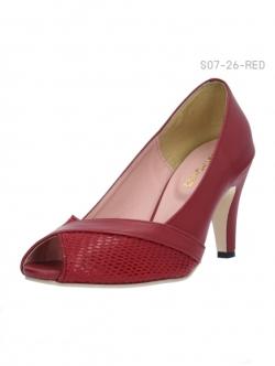 รองเท้าคัทชูส้นสูงแบบเปิดนิ้วเท้า แต่งลายหนังงู (สีแดง )