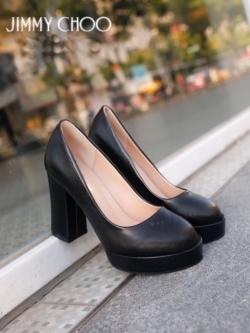 รองเท้าคัทชูส้นสูง หัวกลม ทรงสุภาพ (สีดำ )