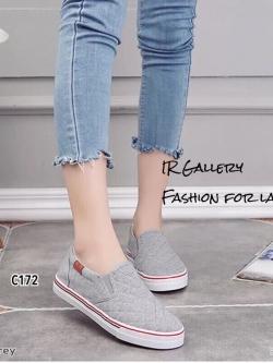 รองเท้าผ้าใบไร้เชือกสีเทา ผ้าแคนวาสลายตาราง (สีเทา )