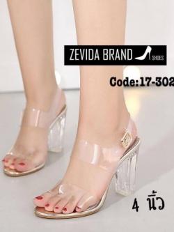 รองเท้าส้นสูงแฟชั่นสีทอง รัดข้อเท้า ส้นแก้ว สไตล์เกาหลี (สีทอง )