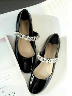 รองเท้าคัชชู หนังแก้วนิ่ม (สีดำ)