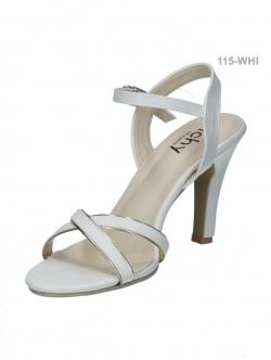 รองเท้าส้นสูงรัดส้น สายรัดตะขอเกี่ยว (สีขาว )
