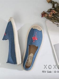 รองเท้าผ้าใบแฟชั่นสีฟ้า วัสดุผ้าฝ้าย สไตล์วินเทจ (สีฟ้า )