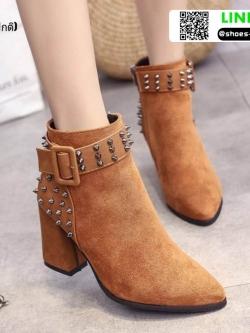รองเท้าบุทส้นเหลี่ยมหุ้มข้อ ST620-TAN [สีแทน]