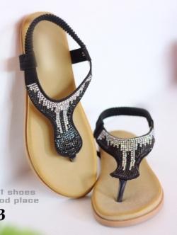 รองเท้าแตะ รัดส้น แบบคีบ พื้นนิ่ม (สีดำ )