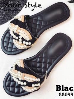 รองเท้าแตะผู้หญิงสีดำ แบบสวม สไตล์แบรนด์ CHANEL (สีดำ )