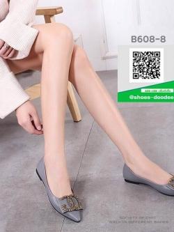 รองเท้าคัทชูส้นแบนสีเทา หัวแหลม หนังนิ่ม (สีเทา )