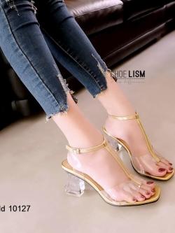 รองเท้าส้นตันรัดข้อสีทอง งานสวยจัด ส้นแก้ว (สีทอง )