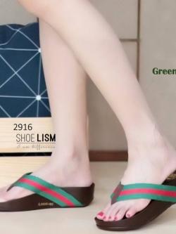 รองเท้าแตะพื่อสุขภาพสีเขียว แต่งสายคาดสลับสีสไตล์กุชชี่ (สีเขียว )